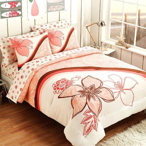 Amazoncom Hawaiian Hibiscus Teen Twin Comforter Set 5 Piece Bed