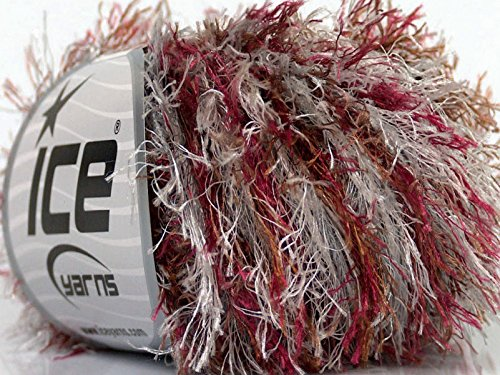 Aspen Eyelash Colorful - Wine White Silver Brown Eyelash Yarn 50 Gram ()