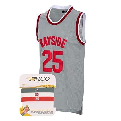 9cdf2e2f128 AFLGO Zack Morris #25 Bayside Basketball Jersey S-XXXL Grey – 90's Clothing  Throwback Costume Athletic Apparel Clothing for Men, Top Bonus Combo Set  with ...