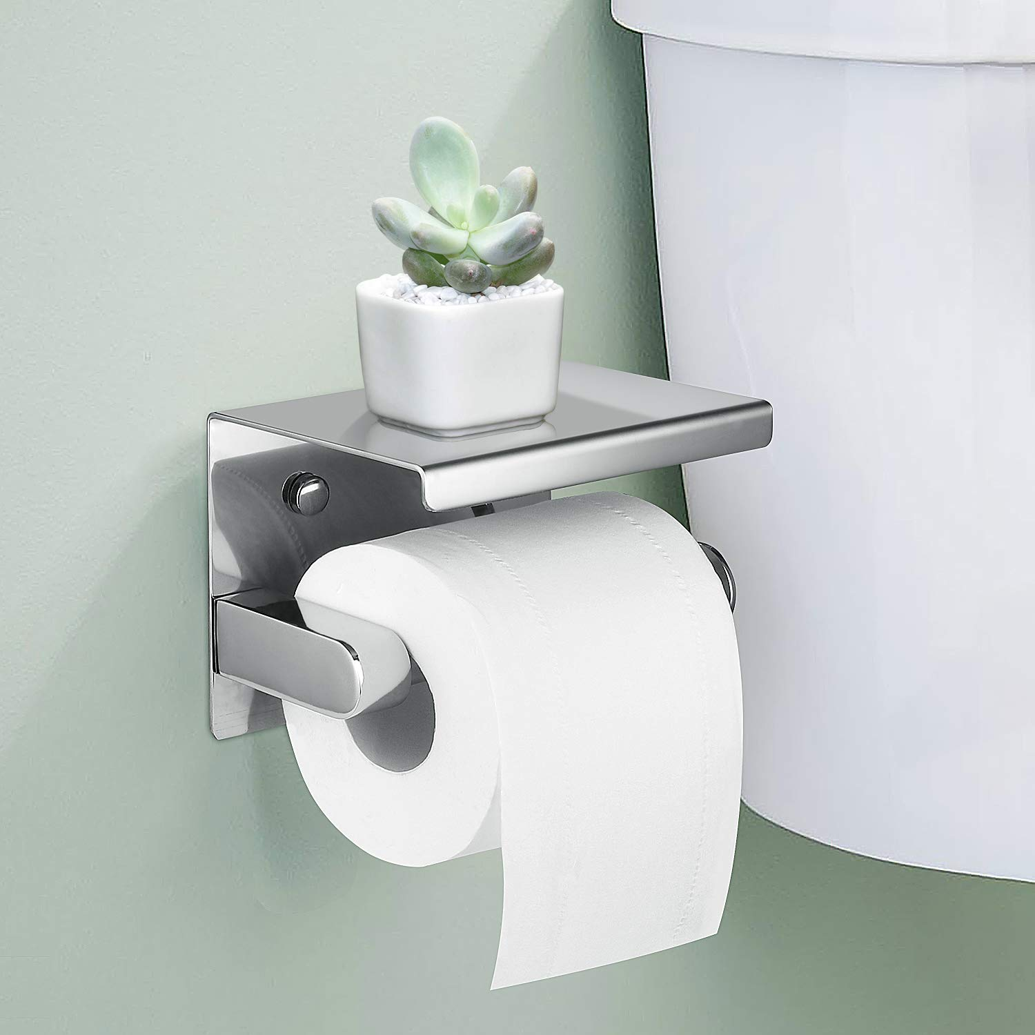 LOUYC Toilet Paper Holder Stainless Steel Bathroom Tissue Stand with Top Shelf (Single Chrome)