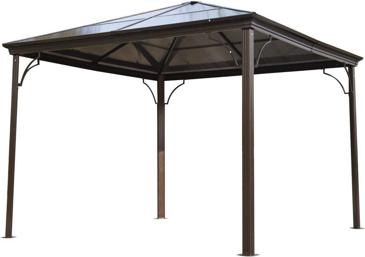 Outsunny - Cenador para jardín, Carpa de 3 x 3 m, con Estructura de Aluminio, Techo Duro y Paredes Laterales de Malla: Amazon.es: Jardín