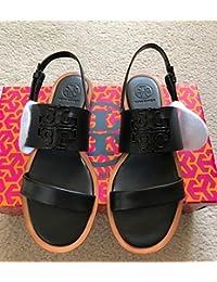 Tory Burch 36501 001 Melinda Powder Coated Black Flat Sandal Size 8