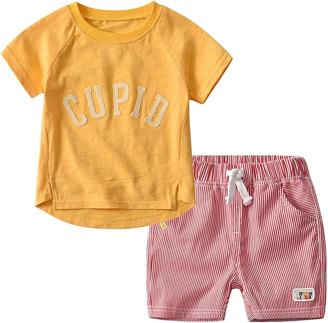 KUKEONON Little Kid Boys Summer Cotton Short Sleeve T-Shirt Stripe Shorts 2pcs Set