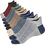 M&Z Mens Low Cut Ankle Socks Comfy Mesh Top Protect Heels Non-slid Cotton High Grade Socks 4 Seasons Size M:8~11