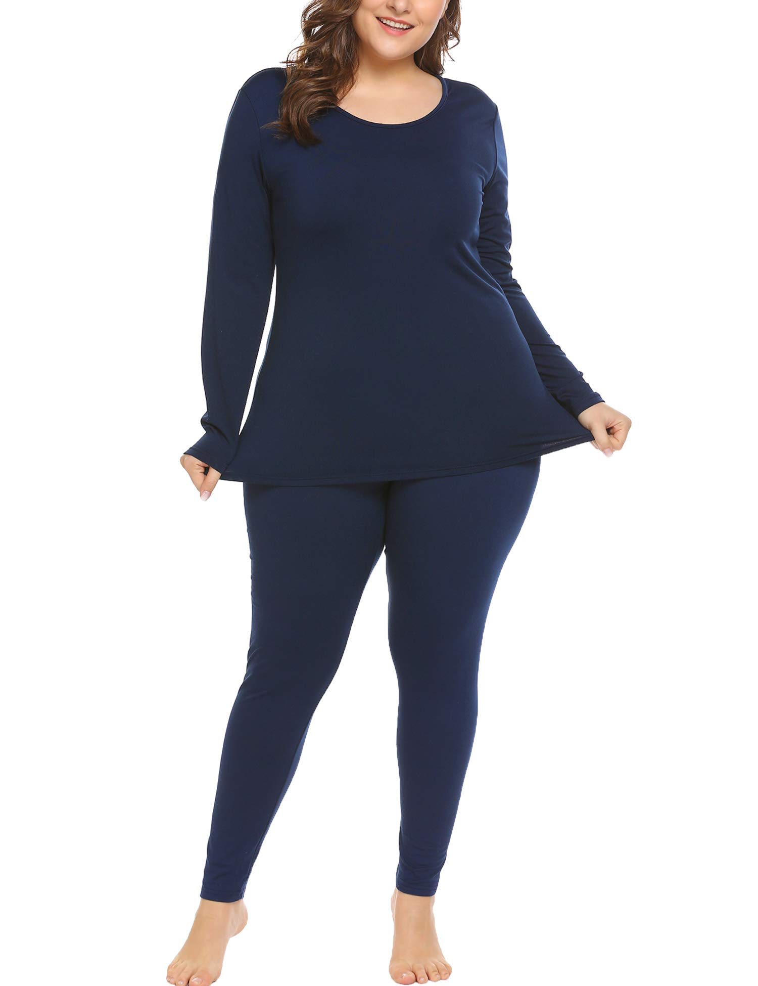 In'voland Women's Thermal Underwear Set Top & Bottom Fleece Lined Champlain Colour 22W by IN'VOLAND