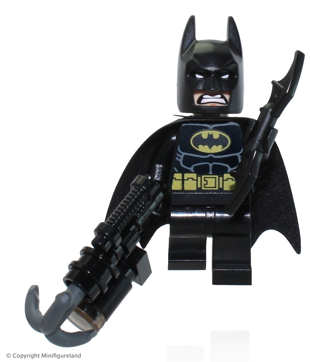 The LEGO Movie - Batman Minifigure with Dual-sided Face (Smiling and Scowling) with Batarang and Harpoon Gun from set 70817