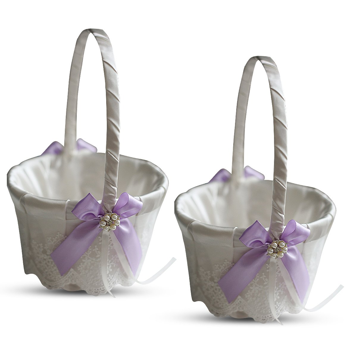 Roman Store Ivory Ring Bearer Pillow and Basket Set | Lace Collection | Flower Girl & Welcome Basket for Guest | Handmade Wedding Baskets & Pillows (Violet Lilac Lavender)