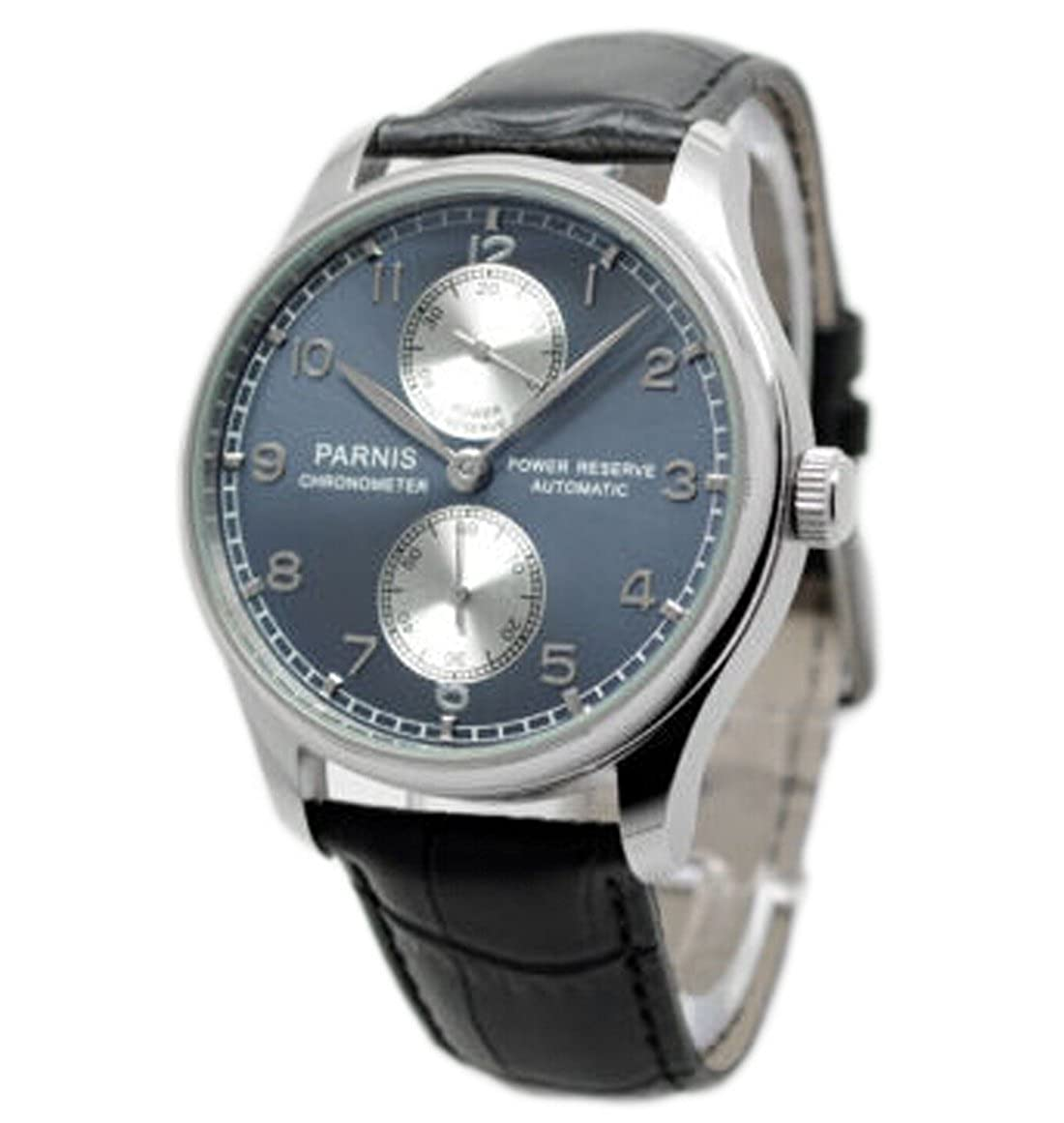 Amazon.com: 43mm Parnis Portuguese Power Reserve Automatic Watch Blue Face Sea-gull Movt P042612: Watches