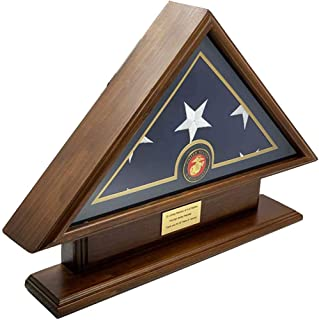 product image for 5x9, Burial/Funeral/Veteran Flag Elegant Display Case, Solid Wood, Walnut Finish