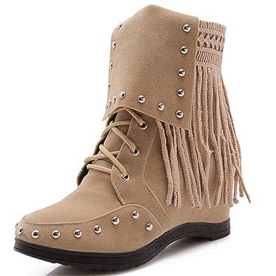5206e18e0d1 Amazon.com | Women's Lace Up Ankle Boots Winter Comfortable Rivet ...