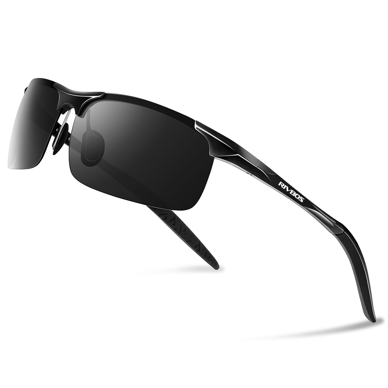 RIVBOS Polarized Sports Sunglasse for Men Women, Glasses for Cycling Running Fishing Golf Baseball Fashion Metal Frames RBS092 (Black)