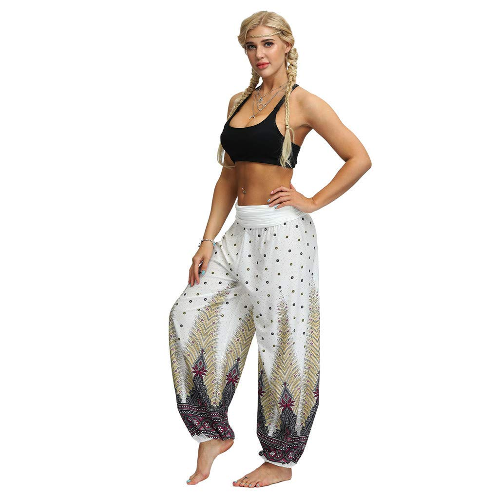 Amazon Com Beyonds Women Loose Yoga Wide Leg Hippie Pants Travel Lounge Casual Beach Women S Boho Pants Hippie Clothes Yoga Outfits Peacock Design Baby