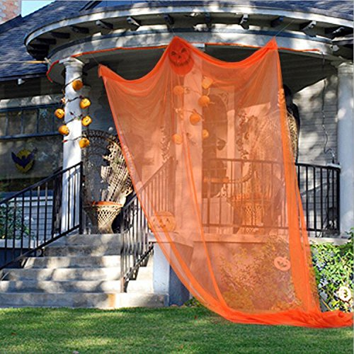 Orange Halloween Hanging Ghost Decor Prop,Halloween Haunted House Hanging Skeleton Flying Ghost Halloween Decorations for Yard Outdoor Indoor Bar KTV (Deco Mesh Halloween Tree)