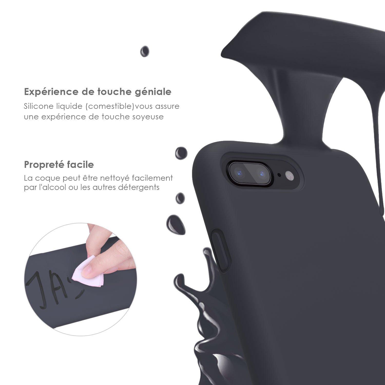 Coque iPhone 7 plus / 8 plus , JASBON Coque Silicone Liquide Anti-rayure avec Protecteur d\'écran Gratuit, Housse Protection Silicone Anti-Choc Gel Case pour iPhone 7 plus / 8 plus– Noir