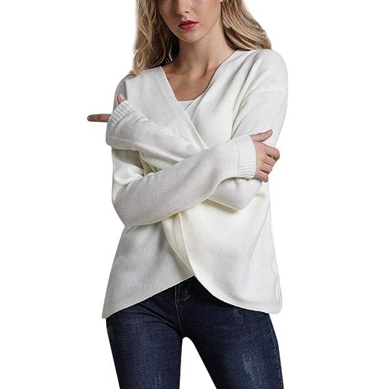 Luckycat Mujer Jerséis Camiseta Manga Larga Blusa Cuello Pico Otoño Invierno Elegante Oficina Casual Tops: Amazon.es: Ropa y accesorios