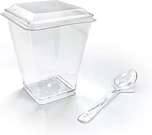 Zappy 42 5 oz Tall Square Mini Dessert Cups with Lids and Tasting Spoons, Large Dessert Glasses Shot Glasses Trifle Bowl, Clear Disposable Plastic Dessert Tumbler Cups Small Party Cups