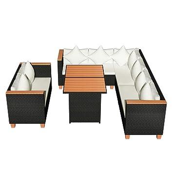 Vidaxl Garten Essgruppe 27 Tlg Poly Rattan Wpc Schwarz Lounge Set