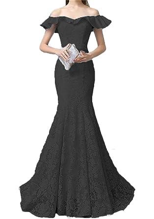 Chugu Womens Lace Evening Party Dresses Mermaid Long Prom Dress Off Shoulder C4 Black 2