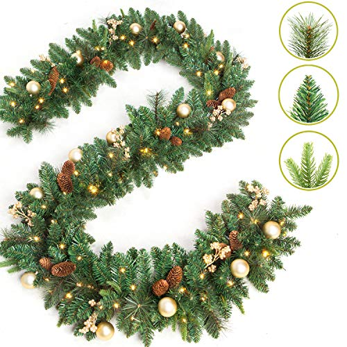 LIFEFAIR 9 Foot by 12 Inch Christmas Garland with 50 Clear Lights, 340 Branch Tips, Three Different Types of Green Leaves, Pinecones, Gold Berries and Gold Ball (Christmas Staircase Garland)