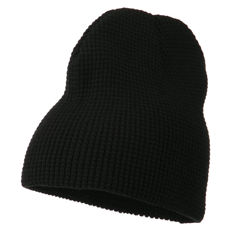 Acrylic Knit Waffle Short Beanie - Black
