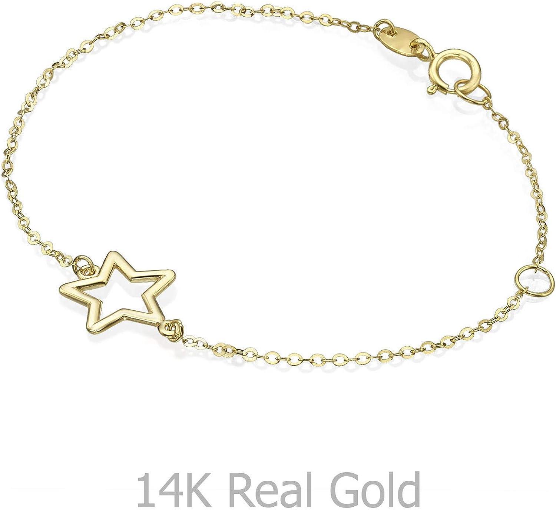 14K Fine Yellow Gold Star Bracelet for Baby Girls Children Kids Teens 6.1 Christening Birthday