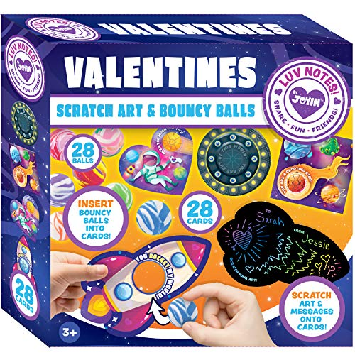 JOYIN 28 Packs Cards for Kids with Scratch Magic Cards and Marble Bouncing Balls Valentine Classroom Exchange Party Favor Toy -