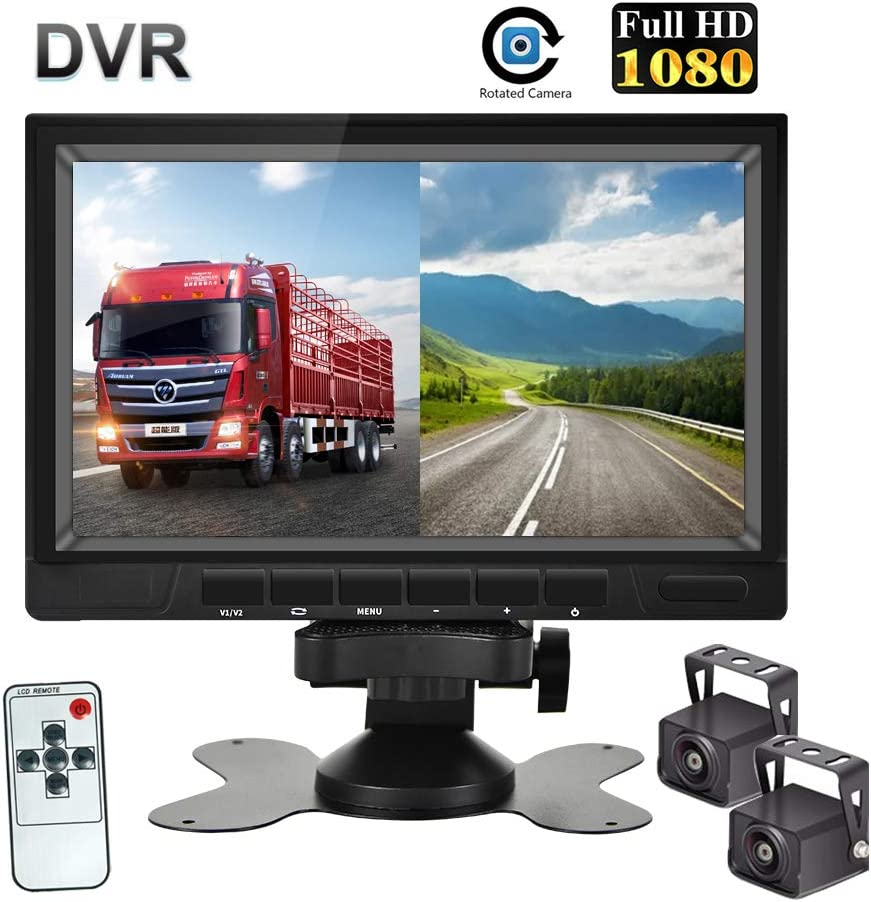 Waterproof Night Vision Rearview Backup Camera Easy Installation Backup Camera for Trucks//Trailer//Heavy Box//RV//Camper//Bus HD Dual Backup Camera System 7 Inch HD 1080P Split Screen with DVR Recording