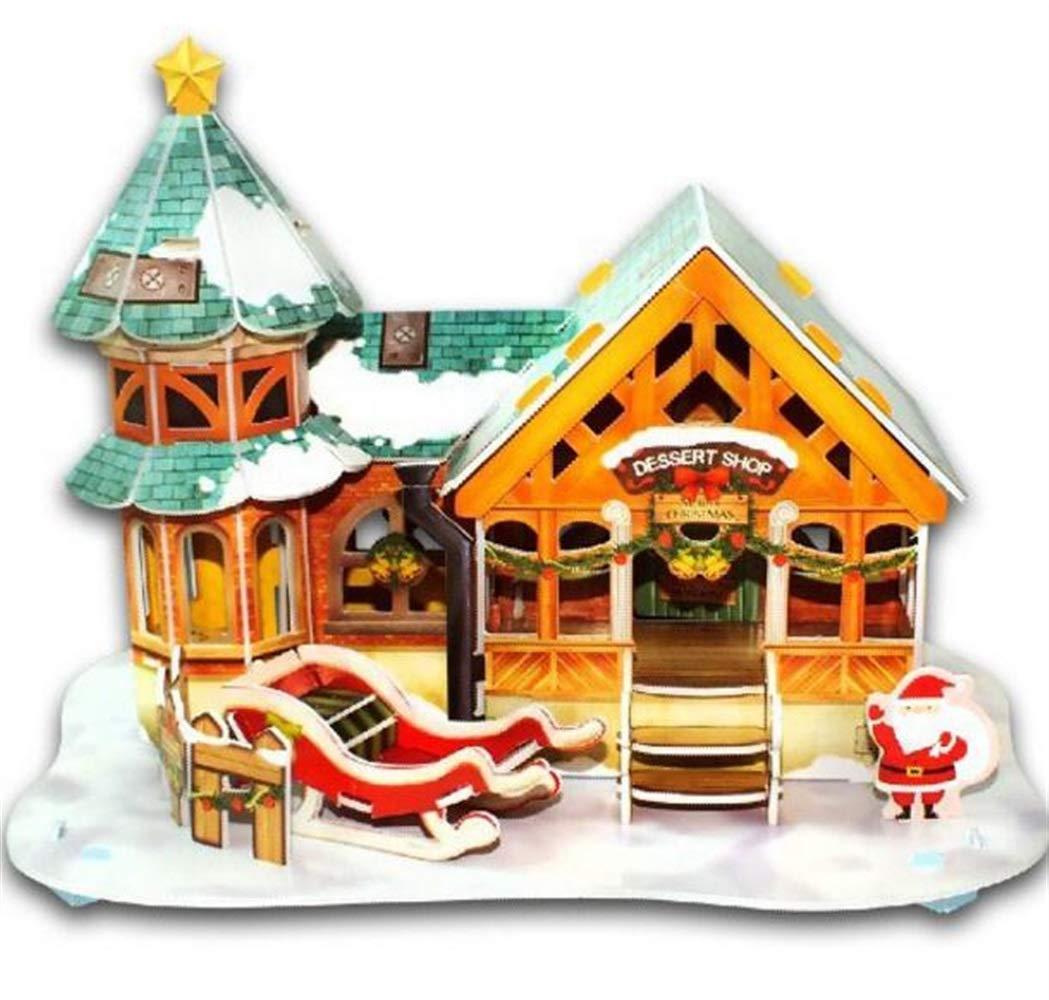 Zicue Educativos Niños Jigsaws Aprendizaje Creativo del Rompecabezas del Papel 3D Aprendizaje del Juguete niños (Plaza del Postre de Navidad)