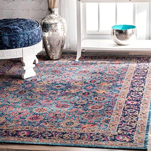nuLOOM Blue Vintage Persian Floral Isela Rug, 5 Feet by 7 Feet 5 (Floral Vintage Rug)
