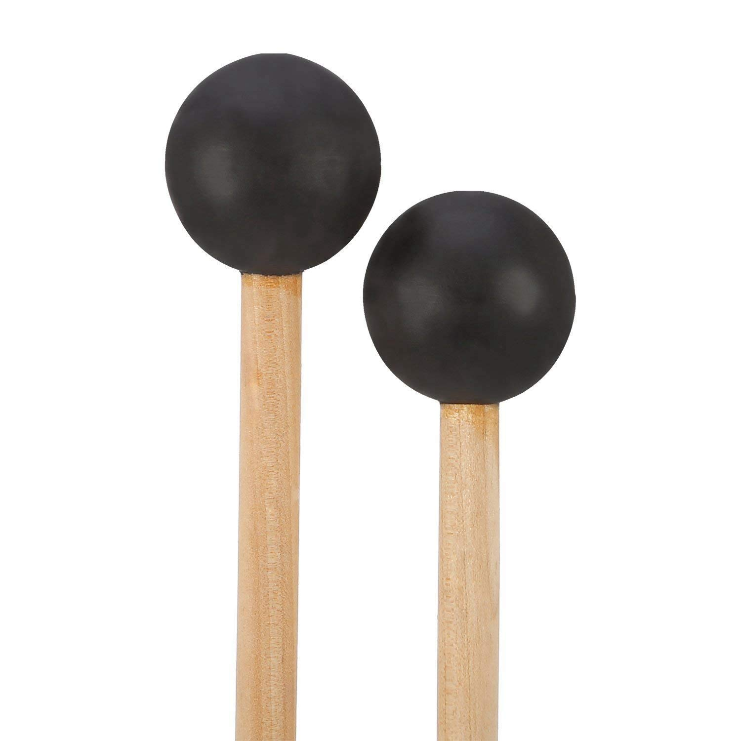 TOOGOO Bell Mallets Glockenspiel Sticks, Rubber Mallet Percussion with Wood Handle, 15 Inch Long (Black)