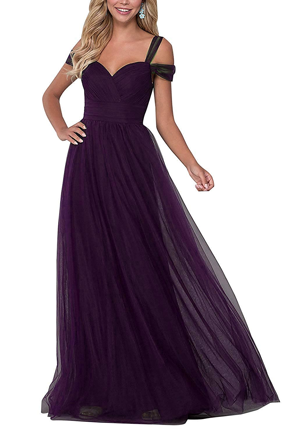 Plum liangjinsmkj Bridesmaid Dresses Long Off Shoulder Ruffled Tulle Spaghetti Strap Prom Gowns for Women