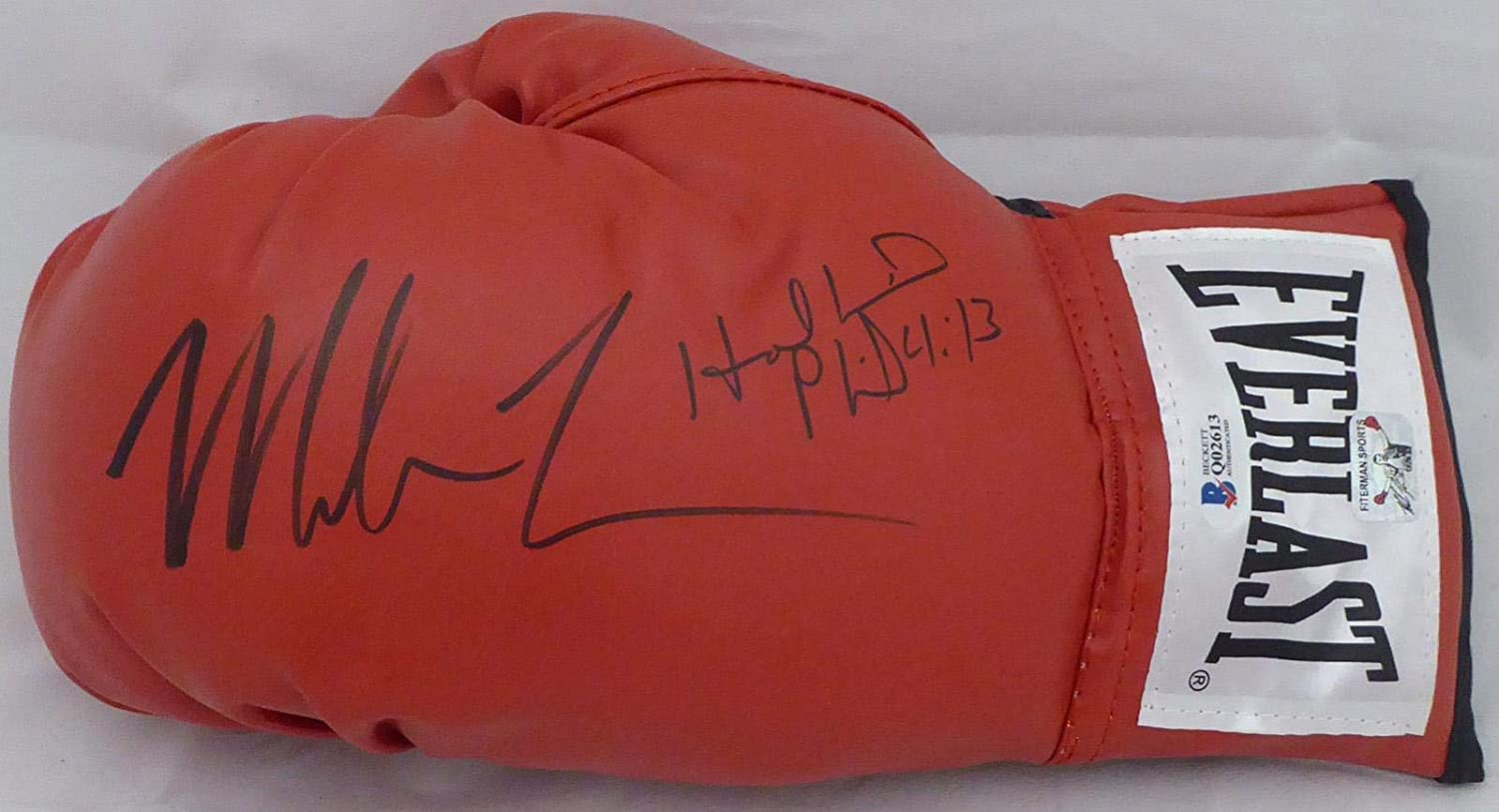 Mike Tyson /& Evander Holyfield Autographed Red Everlast Boxing Glove LH Signed In Black Beckett BAS Stock #155778 Beckett Authentication