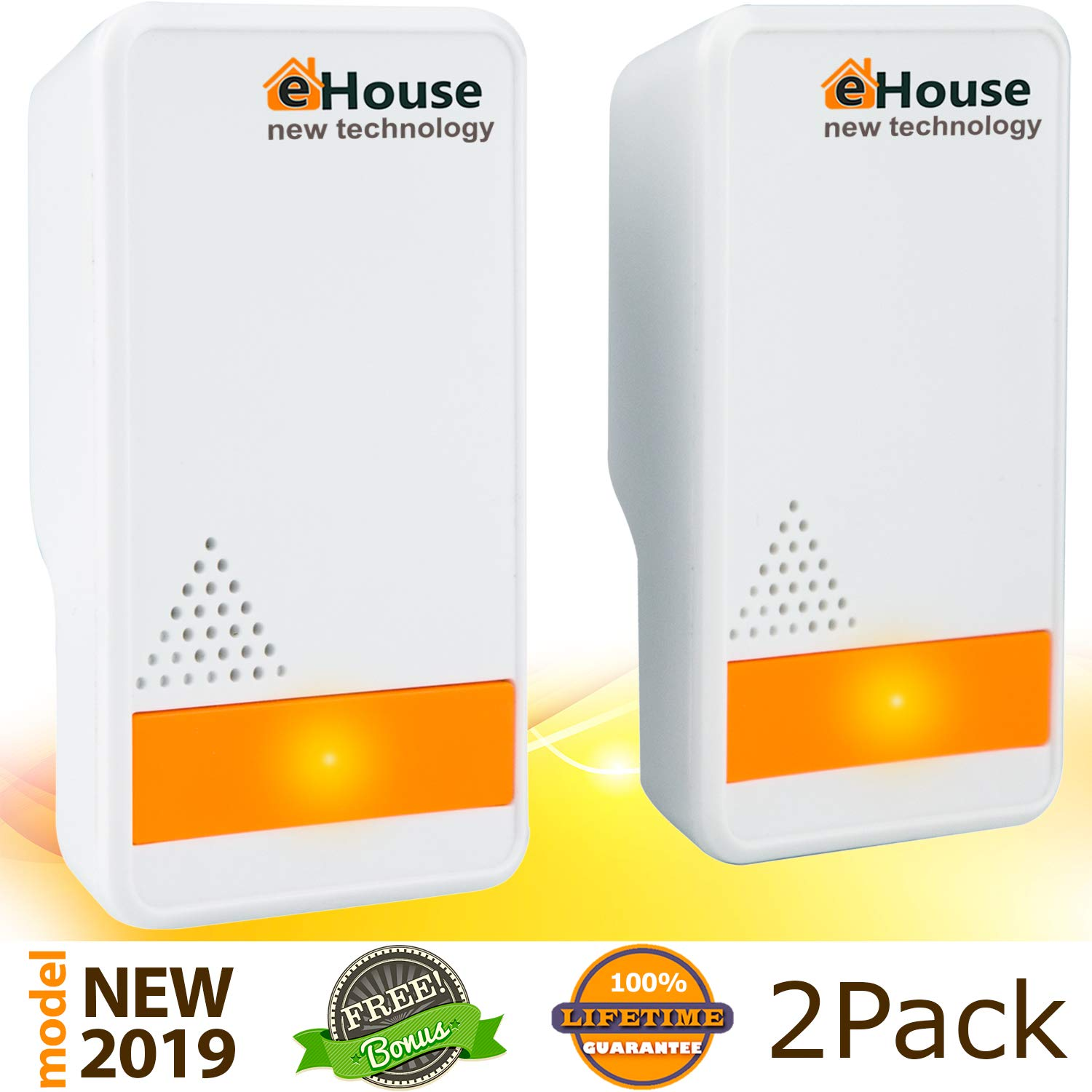 Ultrasonic Pest Repeller - (2 Pack) Electronic Plug in Best Repellent - Pest Control - Get Rid Of - Rodents Squirrels Mice Rats Insects - Roaches Spiders Fleas Bed Bugs Flies Ants Mosquitos Fruit Fly! by EHOUSE