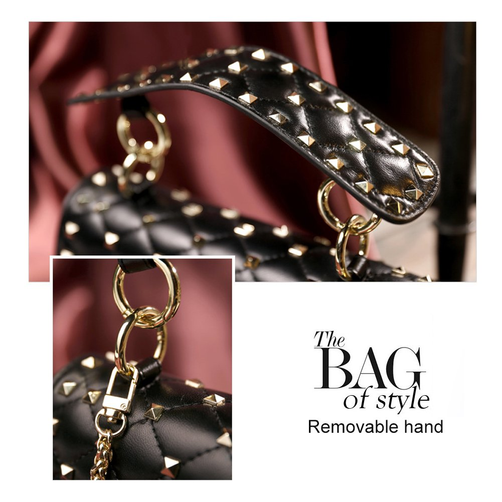 Yoome Genuine Leather Quilted Shoulder Bag Chain Purse Mini Clutch with Bling Rivets Top Handle Handbags YooHY011-Black