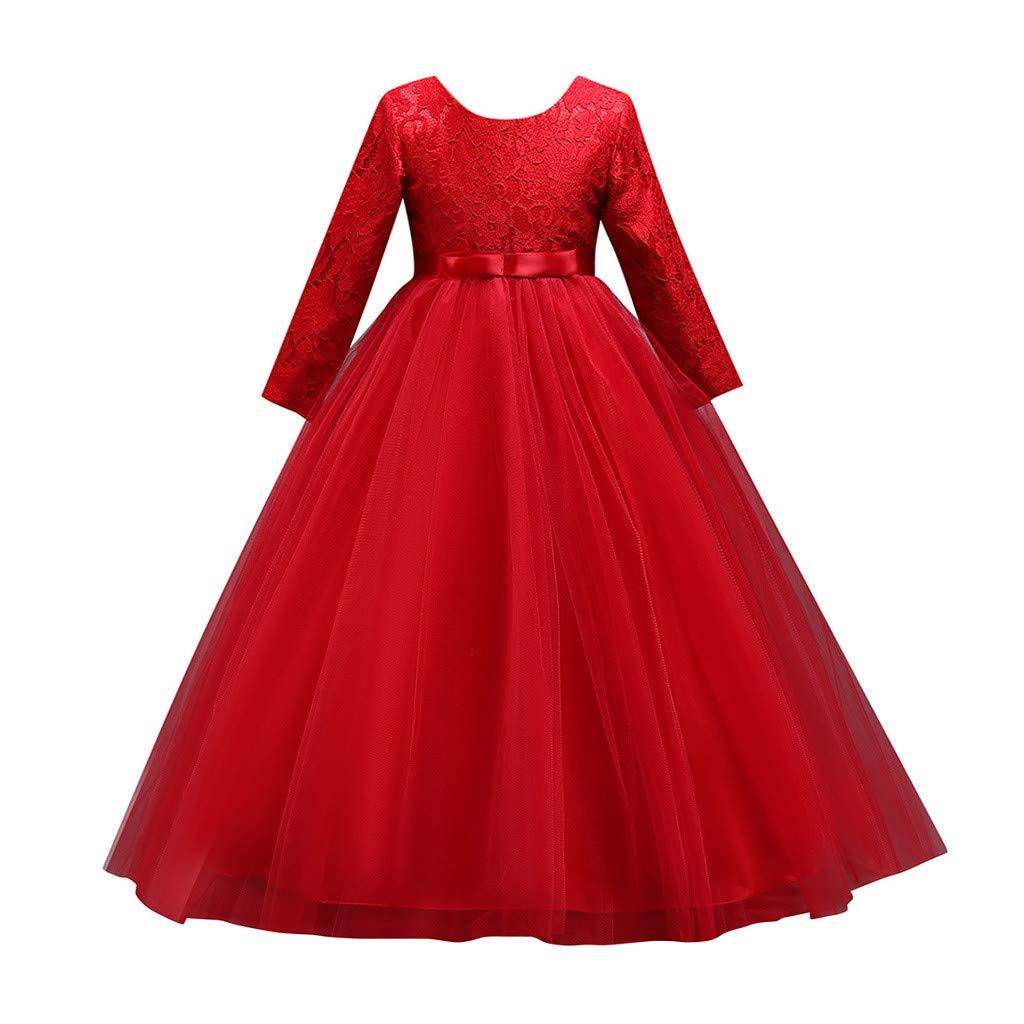 Teens Girls Flower Vintage Floral Lace Bridesmaid Dress Long Sleeve Wedding Pageant Dresses Tulle Party Gown (Age:9-10 Years, Red) by FDSD Baby Clothes
