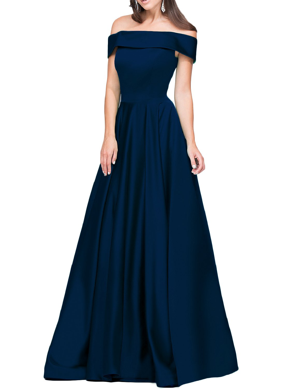 4d16639cacc Home Brands DarlingU Women s Long Off Shoulder Bridesmaid Dress Plus Size  Evening Prom Gown Navy Blue Custom.   