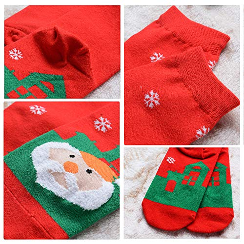Christmas Cotton Socks,Aniwon 6 Pairs Funny Christmas Holiday Socks Printed Crew Socks Soft Warm Winter Casual Socks for Women Men