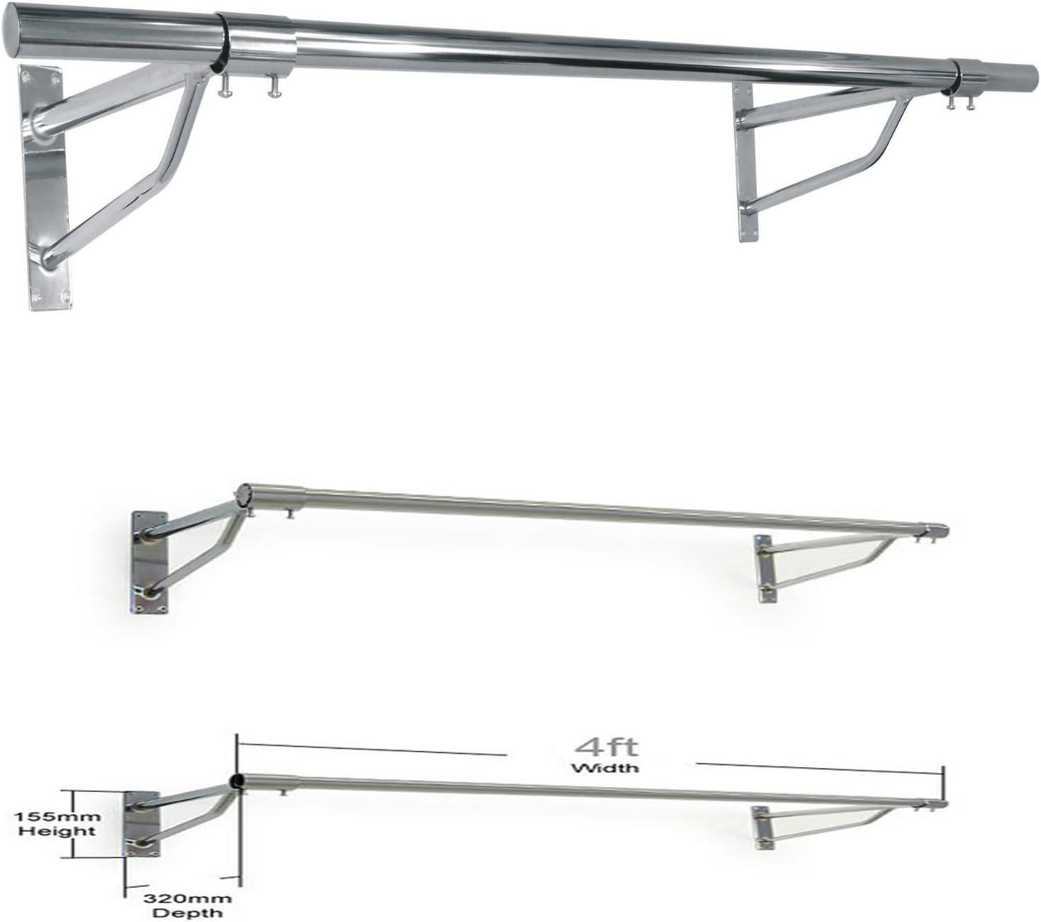 Heavy Duty Wall Mounted Garment Rail Hanging Rack 300mm 3000mm Storage Display
