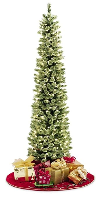 pencil slim christmas tree 7ft soft feel touch with stay lit lights fast