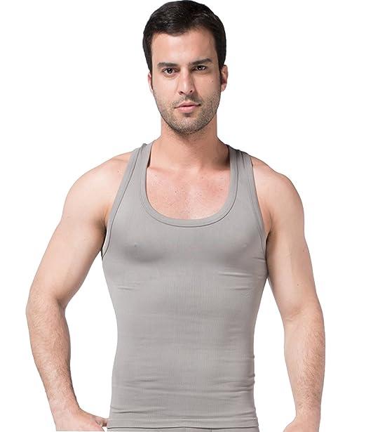 FEOYA Hombre Camiseta Interior de Cuello V sin Costura Reductora Adelgazante Suave Transpirable para Boda… 3KC9pVM