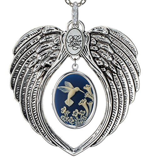 4 Photo Heart Locket (Angel Wings Locket I Love You Charm Necklace Photo Pendant Fashion Jewelry 2 Chain Pouch for Gift)