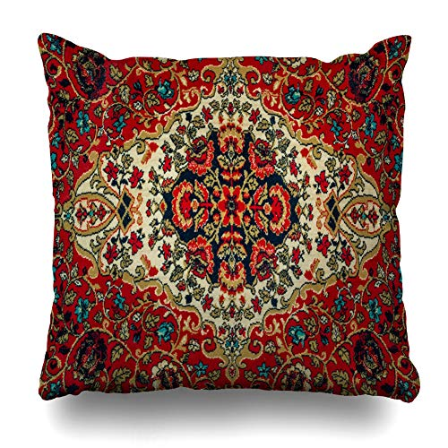 DIYCow Throw Pillows Covers Ethnography Oriental Carpet Floral Pattern Close Material Cushion Case Pillowcase Home Sofa Couch Square Size 20 x 20 Inches Pillowslips ()