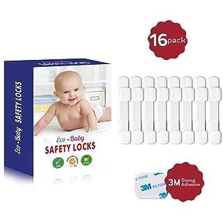 Closet Freezer Fridge Locks for Kids 12PCS Child Safety Latch no Drilling Trash Drawer Adjustable Baby Proofing Cupboard Lock Stick on for Kitchen Refrigerator