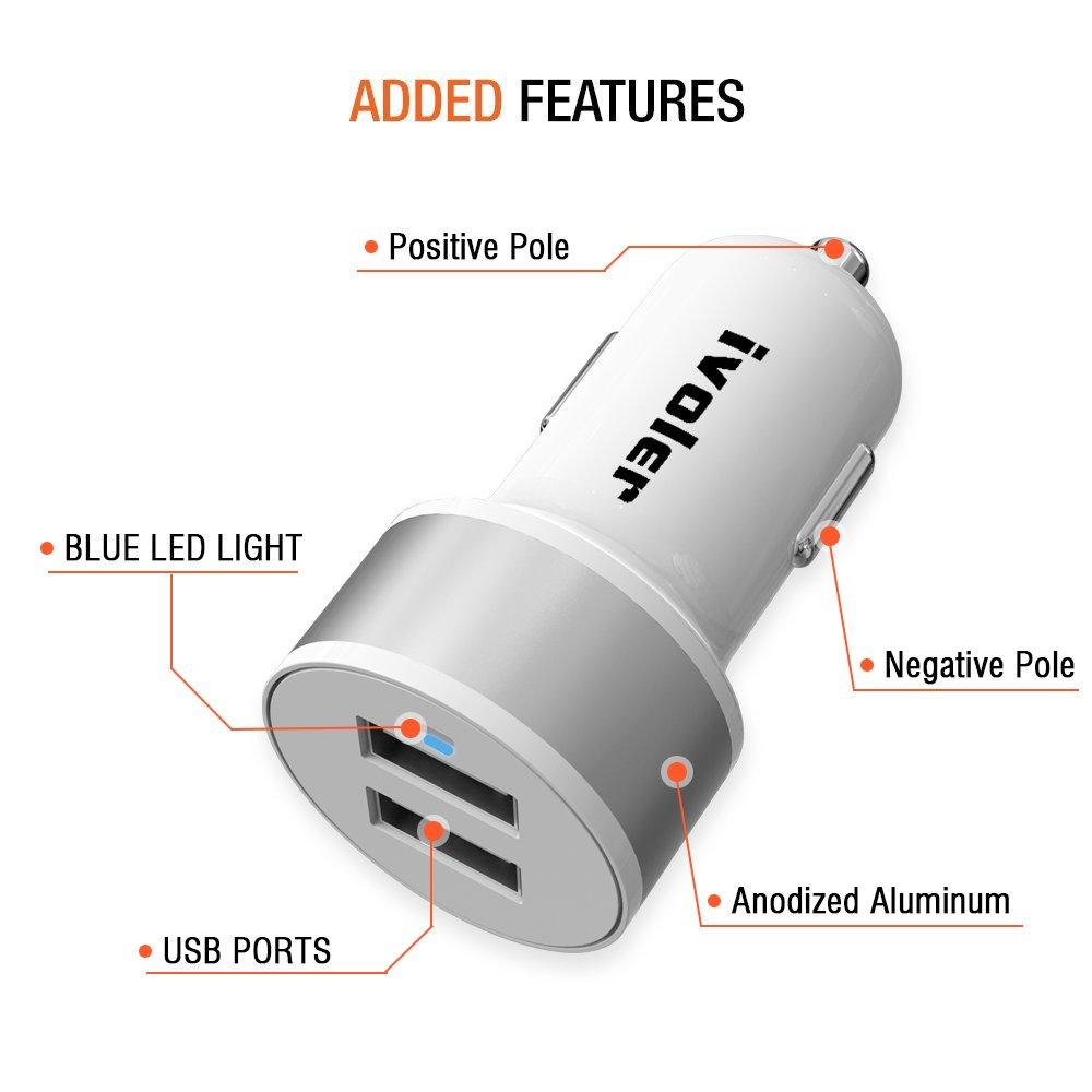 ivoler 24W / 4.8A Cargador de Coche USB Dual-Port, Adaptador Automóvil con Tecnología Qsmart para Samsung, Otros Móviles, Tableta, Cargador Portatil, ...