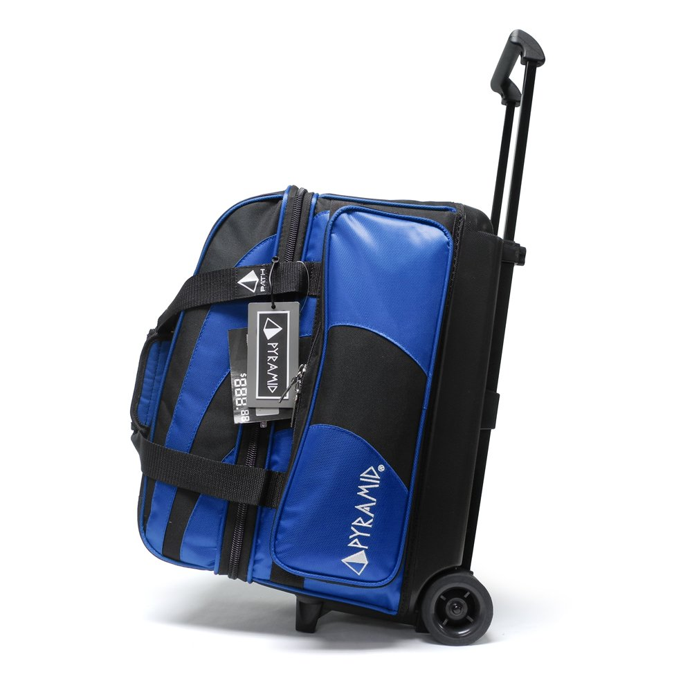 Pyramid Path Deluxe Double Roller with Oversized Accessory Pocket Bowling Bag (Black/Royal Blue) by Pyramid