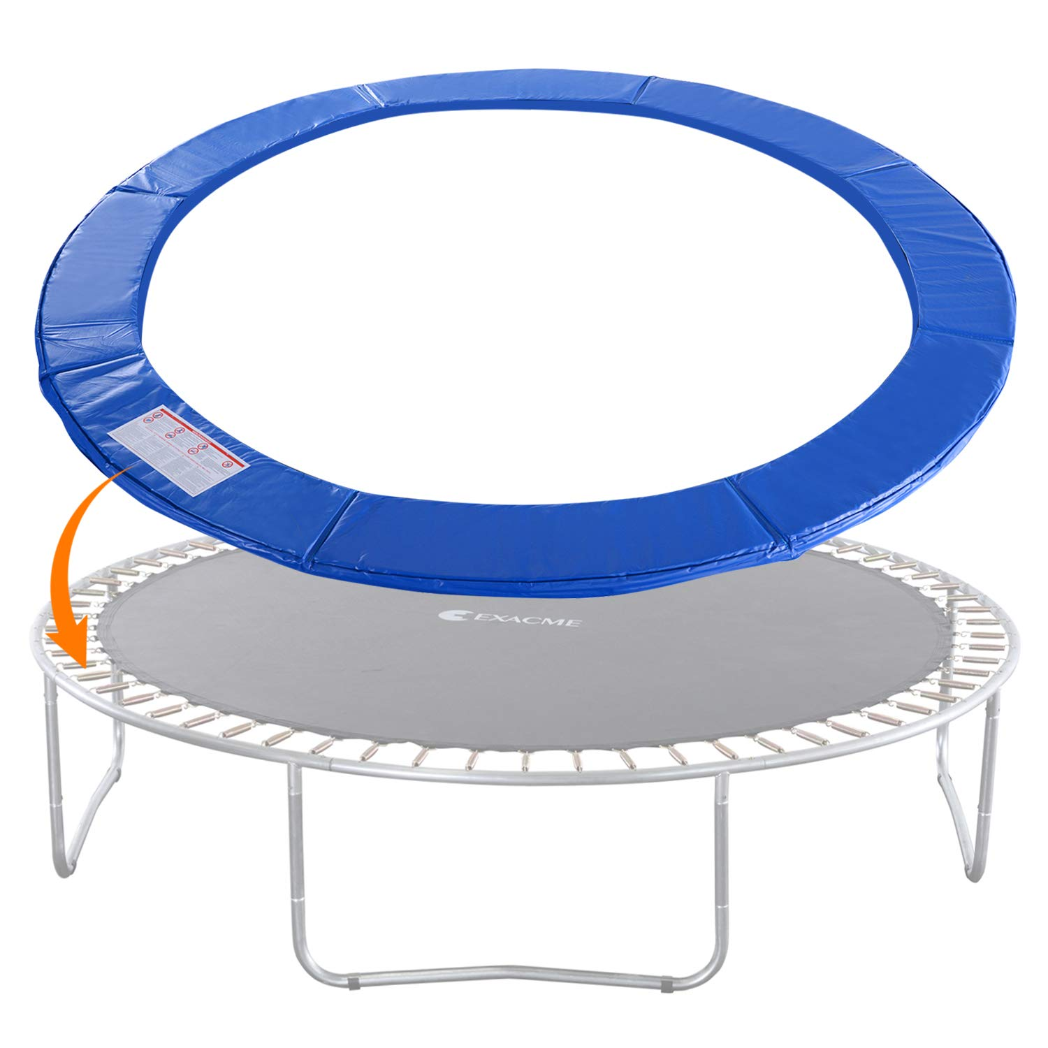 Exacme Trampoline Replacement Safety Pad Round Spring Cover, No Slots (Blue, 14 Foot)