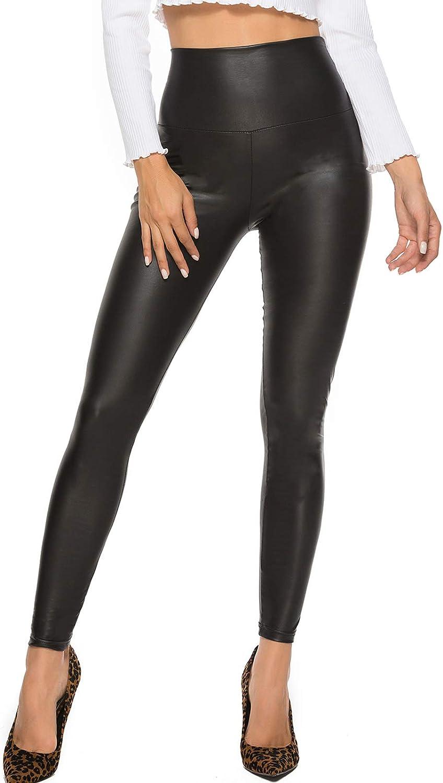 FITTOO Mujeres PU Leggins Cuero Brillante Pantalón Elásticos Pantalones para MujerG300-2 Negro Mate XS