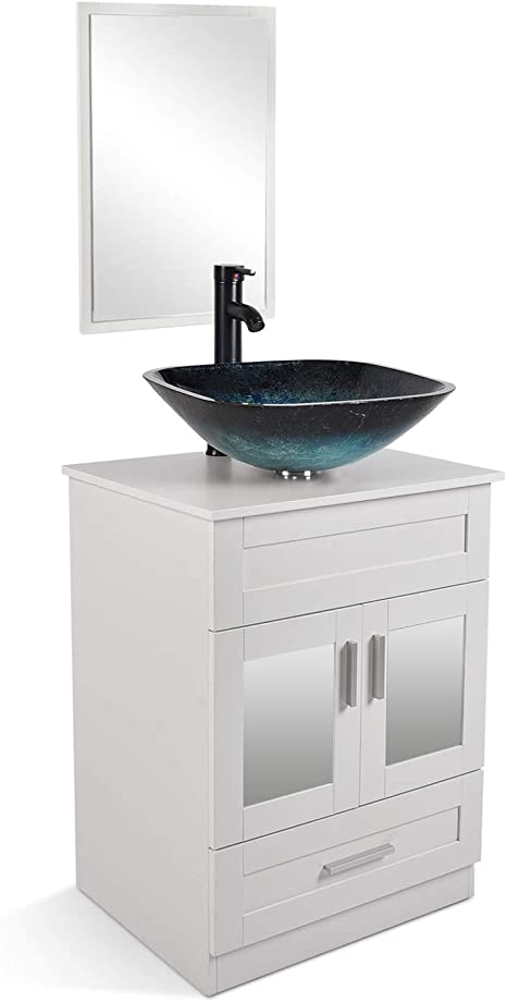 Amazon Com 24 Inch White Bathroom Vanity And Sink Combo With Mirror And Water Saving 1 5 Gpm Orb Faucet Counter Top Floor Cabinet Kitchen Dining