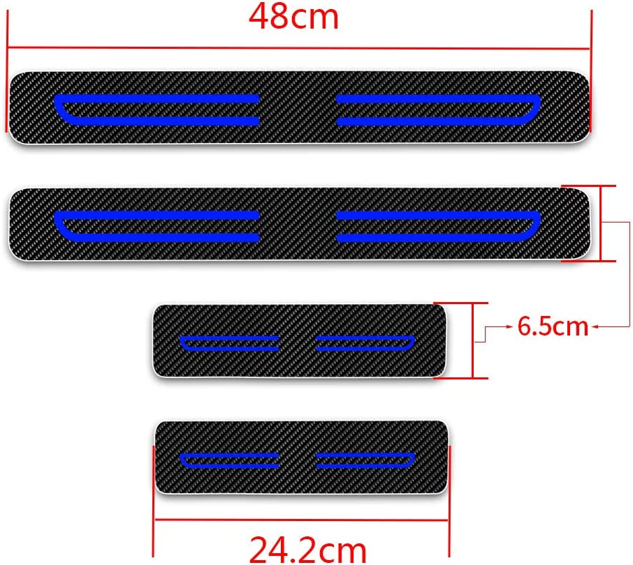 For I-miev ASX Outlander Pajero L200 SPACE STAR Kick Plate Protectors Door Sill Trims Cover Red 4Pcs Carbon Fiber Scuff Plate Guard