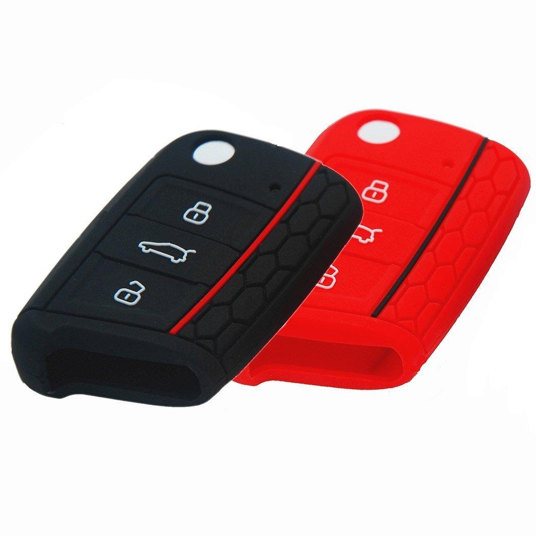 BluePony Lot de 2 é tuis pour clé s de Seat Leon 5 F Noir/rouge